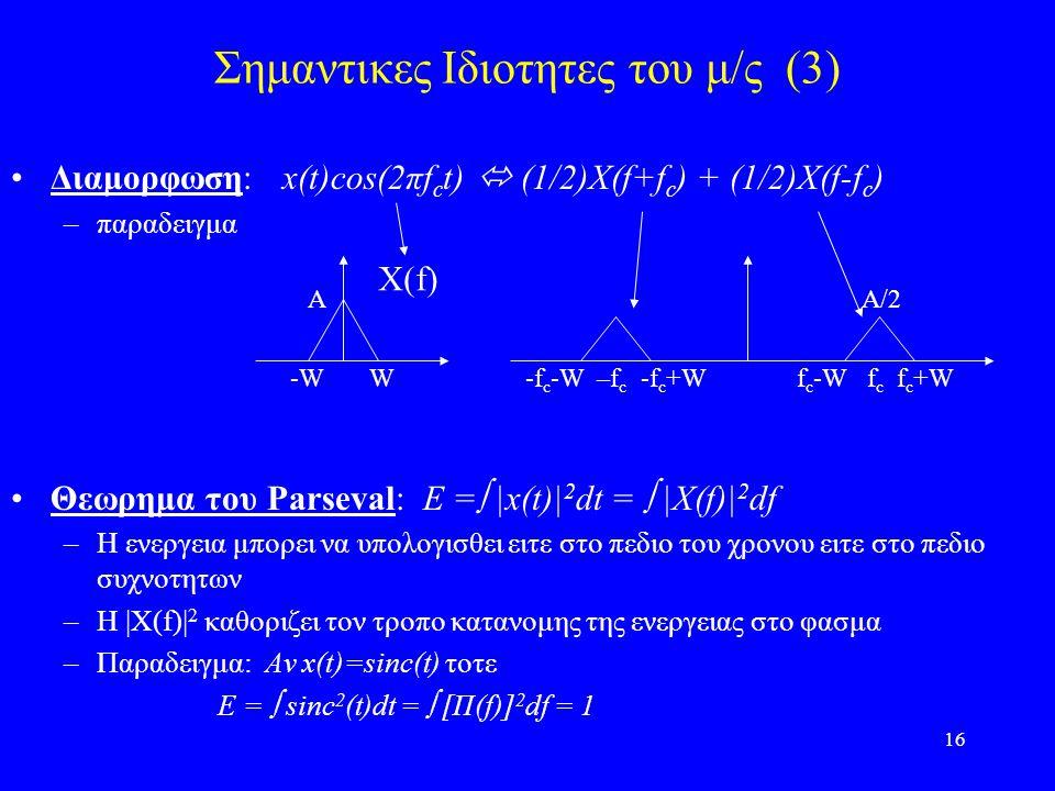 16 Σημαντικες Ιδιοτητες του μ/ς (3) Διαμορφωση: x(t)cos(2πf c t)  (1/2)X(f+f c ) + (1/2)X(f-f c ) –παραδειγμα Θεωρημα του Parseval: E =  |x(t)| 2 dt =  |X(f)| 2 df –H ενεργεια μπορει να υπολογισθει ειτε στο πεδιο του χρονου ειτε στο πεδιο συχνοτητων –H |X(f)| 2 καθοριζει τον τροπο κατανομης της ενεργειας στο φασμα –Παραδειγμα: Αν x(t)=sinc(t) τοτε E =  sinc 2 (t)dt =  [Π(f)] 2 df = 1 -W W -f c -W –f c -f c +W f c -W f c f c +W X(f) A A/2