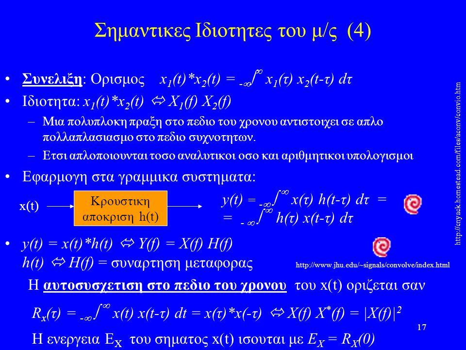 17 Σημαντικες Ιδιοτητες του μ/ς (4) Συνελιξη: Ορισμος x 1 (t)*x 2 (t) = -    x 1 (τ) x 2 (t-τ) dτ Ιδιοτητα: x 1 (t)*x 2 (t)  X 1 (f) X 2 (f) –Μια πολυπλοκη πραξη στο πεδιο του χρονου αντιστοιχει σε απλο πολλαπλασιασμο στο πεδιο συχνοτητων.