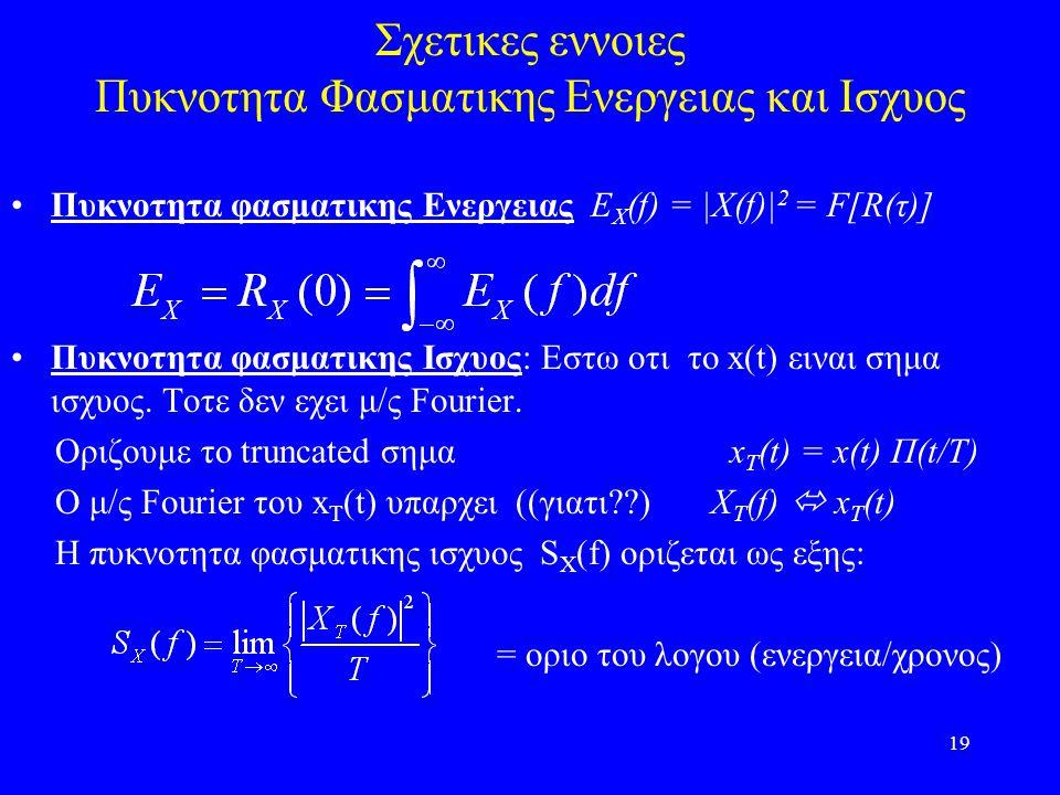 19 Σχετικες εννοιες Πυκνοτητα Φασματικης Ενεργειας και Ισχυος Πυκνοτητα φασματικης Ενεργειας E Χ (f) = |X(f)| 2 = F[R(τ)] Πυκνοτητα φασματικης Ισχυος: Εστω οτι το x(t) ειναι σημα ισχυος.
