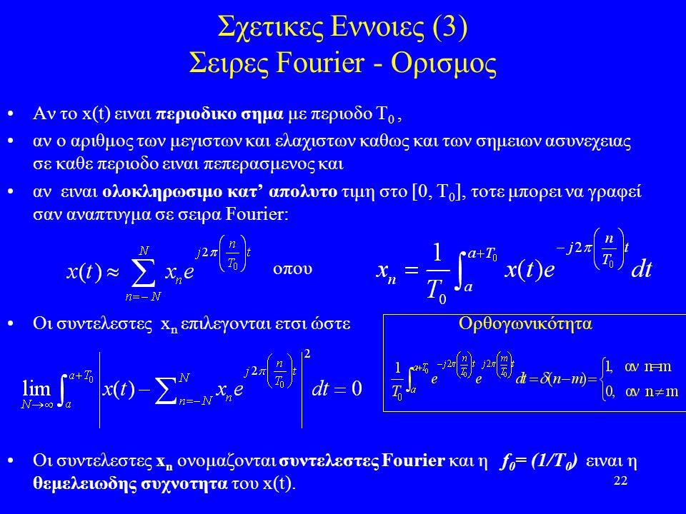 22 Σχετικες Εννοιες (3) Σειρες Fourier - Ορισμος Αν το x(t) ειναι περιοδικο σημα με περιοδο Τ 0, αν ο αριθμος των μεγιστων και ελαχιστων καθως και των σημειων ασυνεχειας σε καθε περιοδο ειναι πεπερασμενος και αν ειναι ολοκληρωσιμο κατ' απολυτο τιμη στο [0, Τ 0 ], τοτε μπορει να γραφεί σαν αναπτυγμα σε σειρα Fourier: οπου Οι συντελεστες x n επιλεγονται ετσι ώστε Ορθογωνικότητα Οι συντελεστες x n ονομαζονται συντελεστες Fourier και η f 0 = (1/T 0 ) ειναι η θεμελειωδης συχνοτητα του x(t).