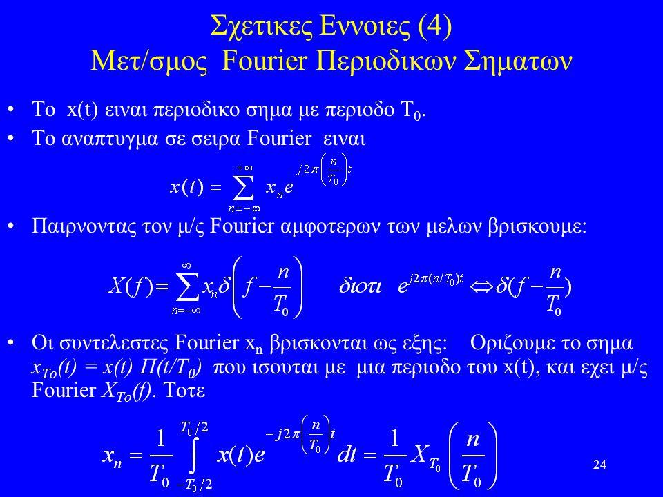 24 Σχετικες Εννοιες (4) Μετ/σμος Fourier Περιοδικων Σηματων Το x(t) ειναι περιοδικο σημα με περιοδο Τ 0.