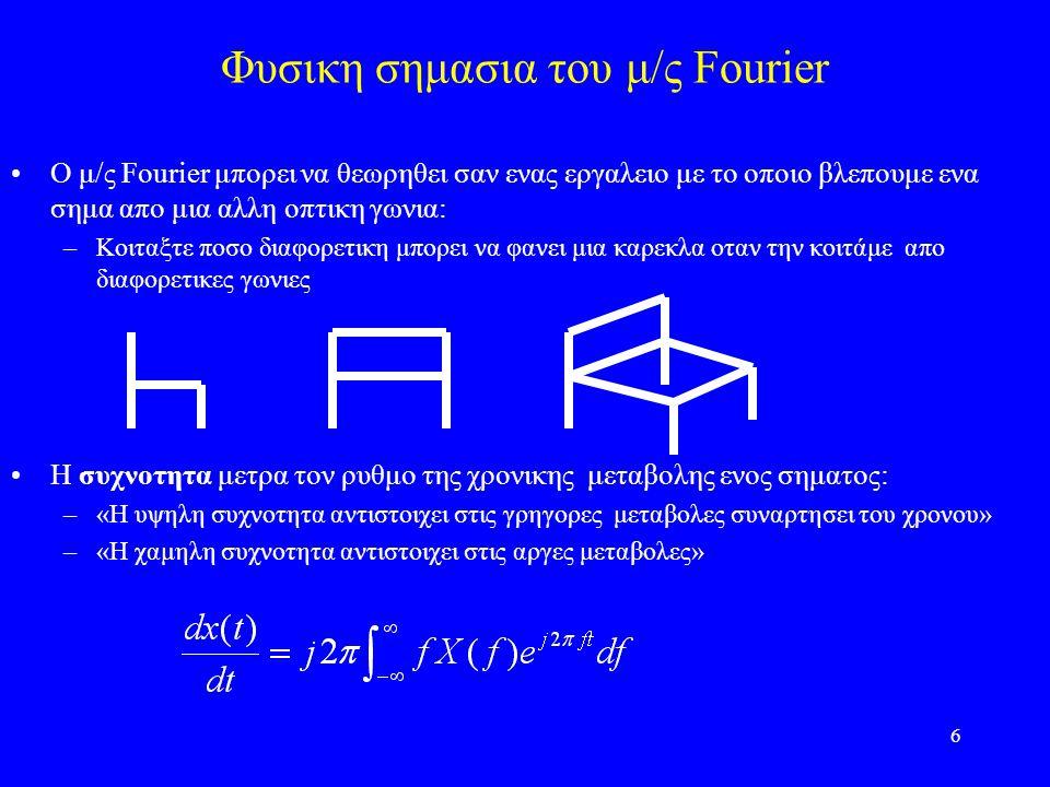 6 Φυσικη σημασια του μ/ς Fourier O μ/ς Fourier μπορει να θεωρηθει σαν ενας εργαλειο με το οποιο βλεπουμε ενα σημα απο μια αλλη οπτικη γωνια: –Κοιταξτε ποσο διαφορετικη μπορει να φανει μια καρεκλα οταν την κοιτάμε απο διαφορετικες γωνιες Η συχνοτητα μετρα τον ρυθμο της χρονικης μεταβολης ενος σηματος: –«Η υψηλη συχνοτητα αντιστοιχει στις γρηγορες μεταβολες συναρτησει του χρονου» –«Η χαμηλη συχνοτητα αντιστοιχει στις αργες μεταβολες»