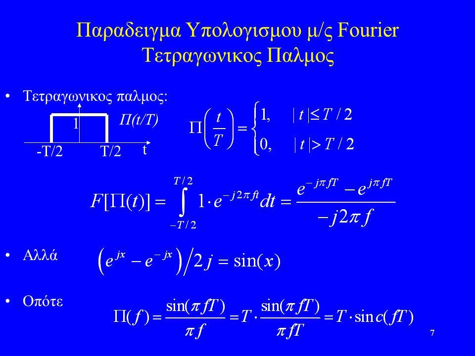 7 Παραδειγμα Υπολογισμου μ/ς Fourier Τετραγωνικος Παλμος Τετραγωνικος παλμος: Αλλά Οπότε -Τ/2Τ/2 t 1 Π(t/T)