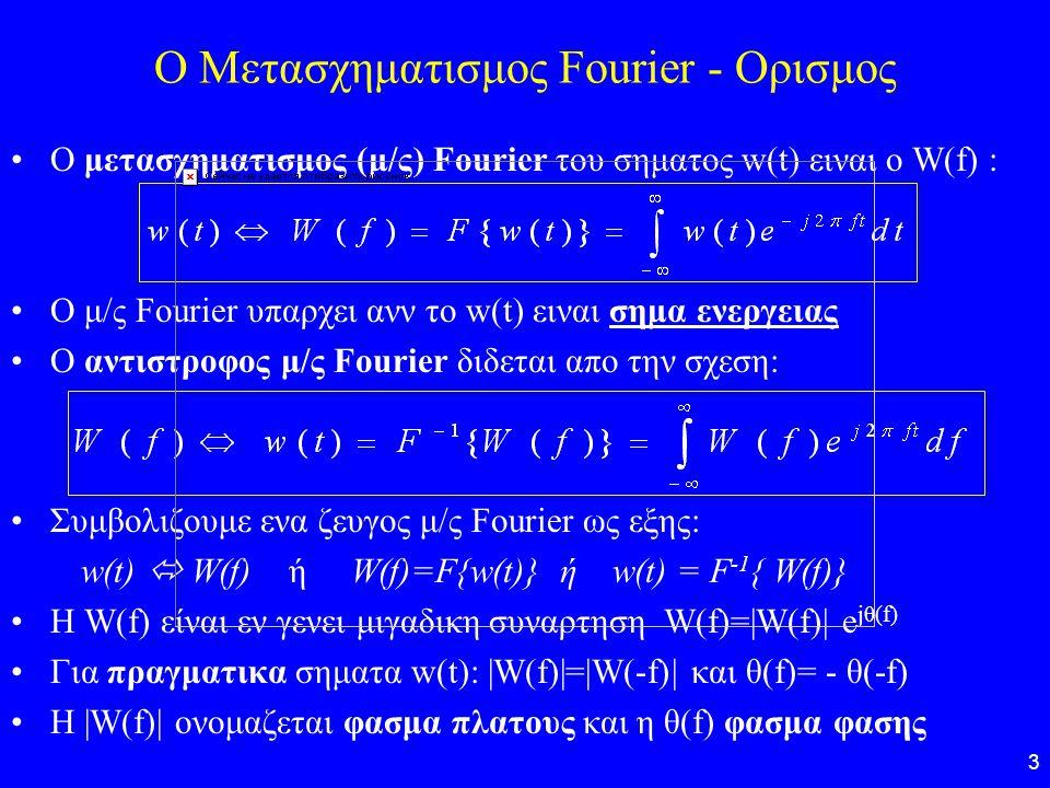 3 O Μετασχηματισμος Fourier - Ορισμος Ο μετασχηματισμος (μ/ς) Fourier του σηματος w(t) ειναι ο W(f) : O μ/ς Fourier υπαρχει ανν το w(t) ειναι σημα ενε