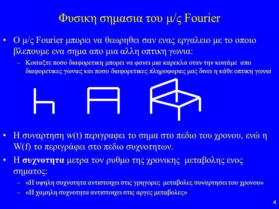 4 Φυσικη σημασια του μ/ς Fourier O μ/ς Fourier μπορει να θεωρηθει σαν ενας εργαλειο με το οποιο βλεπουμε ενα σημα απο μια αλλη οπτικη γωνια: –Κοιταξτε