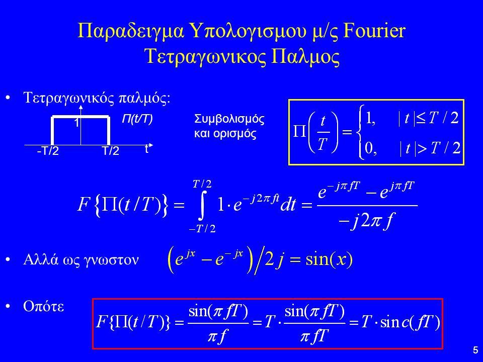 5 Παραδειγμα Υπολογισμου μ/ς Fourier Τετραγωνικος Παλμος Τετραγωνικός παλμός: Αλλά ως γνωστον Οπότε -Τ/2Τ/2 t 1 Π(t/T)Συμβολισμός και ορισμός