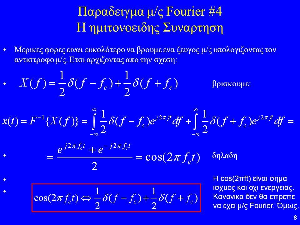 8 Παραδειγμα μ/ς Fourier #4 Η ημιτονοειδης Συναρτηση Μερικες φορες ειναι ευκολότερο να βρουμε ενα ζευγος μ/ς υπολογιζοντας τον αντιστροφο μ/ς. Ετσι αρ