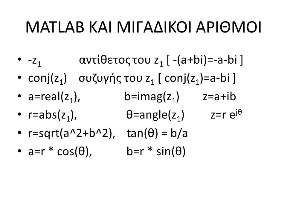 -z 1 αντίθετος του z 1 [ -(a+bi)=-a-bi ] conj(z 1 ) συζυγής του z 1 [ conj(z 1 )=a-bi ] a=real(z 1 ), b=imag(z 1 ) z=a+ib r=abs(z 1 ), θ=angle(z 1 ) z=r e jθ r=sqrt(a^2+b^2), tan(θ) = b/a a=r * cos(θ), b=r * sin(θ)