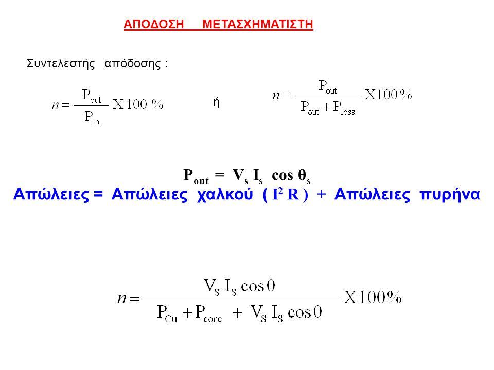 ΑΠΟΔΟΣΗ ΜΕΤΑΣΧΗΜΑΤΙΣΤΗ Συντελεστής απόδοσης : ή P out = V s I s cos θ s Απώλειες = Απώλειες χαλκού ( I 2 R ) + Απώλειες πυρήνα
