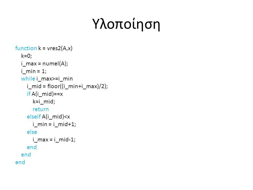 Υλοποίηση function k = vres2(A,x) k=0; i_max = numel(A); i_min = 1; while i_max>=i_min i_mid = floor((i_min+i_max)/2); if A(i_mid)==x k=i_mid; return