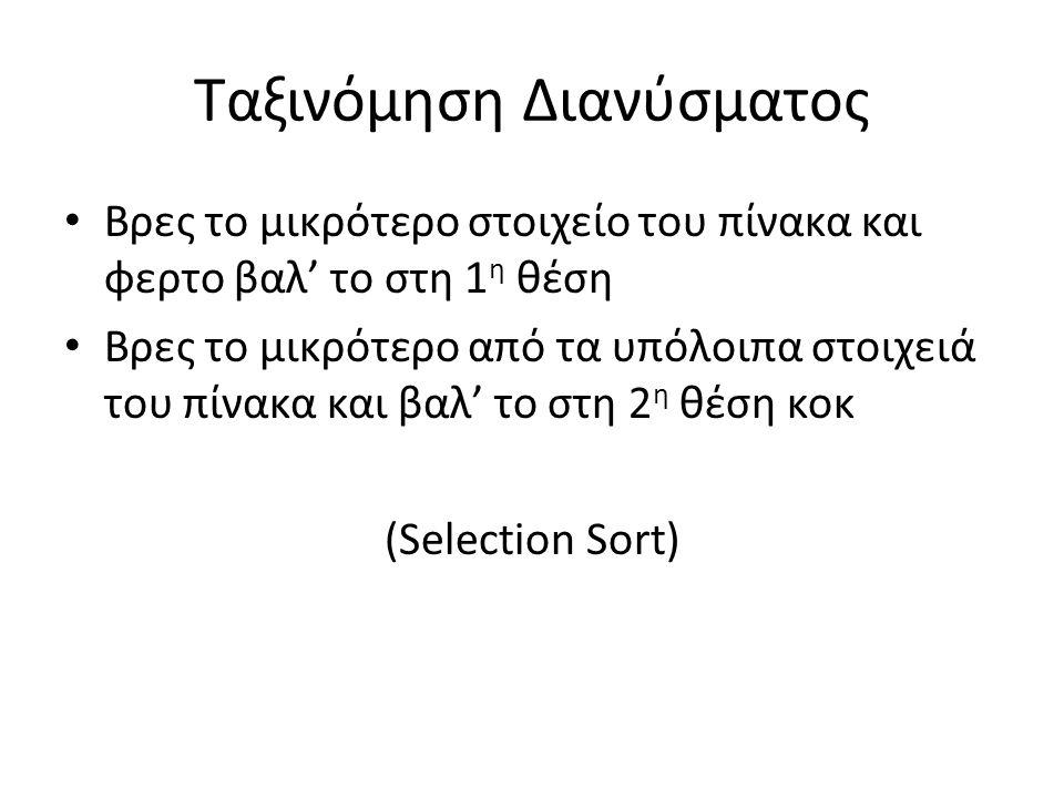 Υλοποίηση function A = Selection_sort(A) N = numel(A); for i=1:N-1 i_min=i; for j=i:N; if a(j)<a(i_min) i_min=j; end A = swap(A,i,i_min); end function A = swap(A,i,j) k = A(i); A(i)=A(j); A(j)=k; end