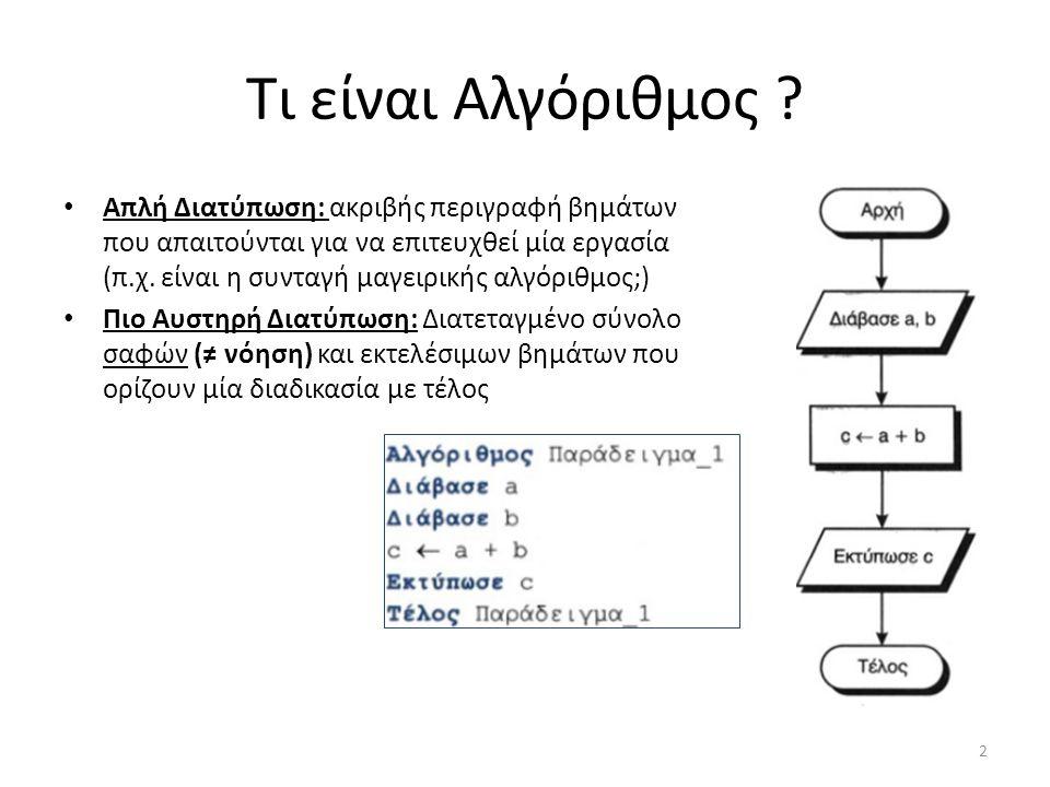 Τι είναι Αλγόριθμος ? Απλή Διατύπωση: ακριβής περιγραφή βημάτων που απαιτούνται για να επιτευχθεί μία εργασία (π.χ. είναι η συνταγή μαγειρικής αλγόριθ