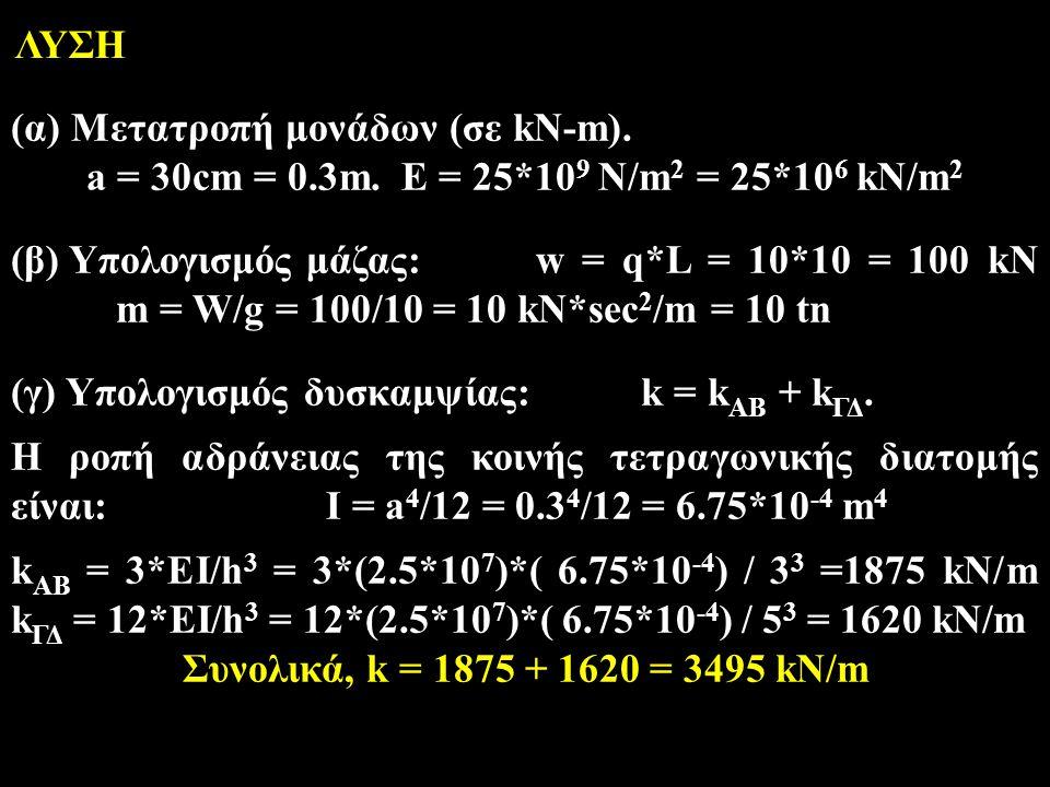 (γ) Υπολογισμός δυσκαμψίας:k = k AB + k ΓΔ. Η ροπή αδράνειας της κοινής τετραγωνικής διατομής είναι:I = a 4 /12 = 0.3 4 /12 = 6.75*10 -4 m 4 k AB = 3*