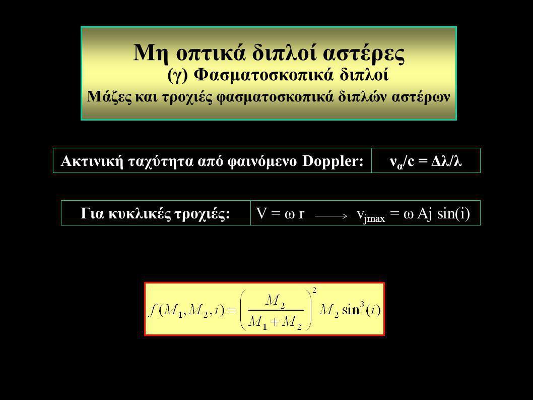 ν α /c = Δλ/λ V = ω r v jmax = ω Aj sin(i) Μη οπτικά διπλοί αστέρες (γ) Φασματοσκοπικά διπλοί Μάζες και τροχιές φασματοσκοπικά διπλών αστέρων Ακτινική