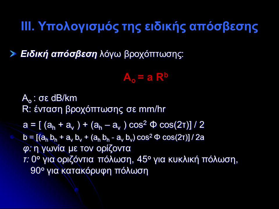 ΙΙΙ. Υπολογισμός της ειδικής απόσβεσης Ειδική απόσβεση λόγω βροχόπτωσης: A ο = a R b Α ο : σε dB/km R: ένταση βροχόπτωσης σε mm/hr R: ένταση βροχόπτωσ