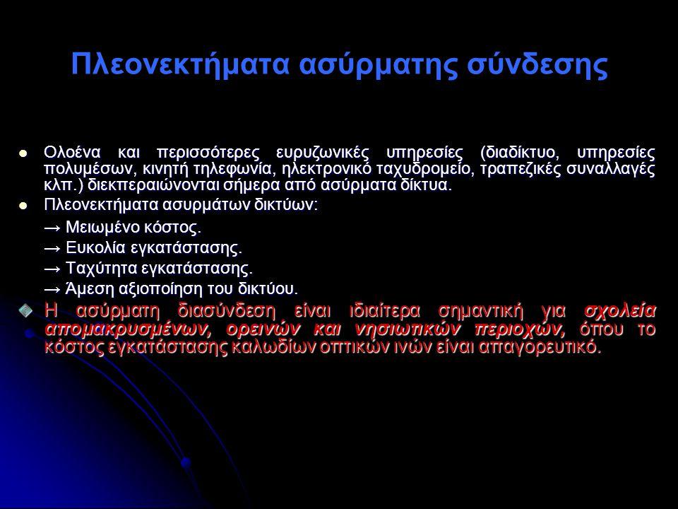 Πλεονεκτήματα ασύρματης σύνδεσης Ολοένα και περισσότερες ευρυζωνικές υπηρεσίες (διαδίκτυο, υπηρεσίες πολυμέσων, κινητή τηλεφωνία, ηλεκτρονικό ταχυδρομ