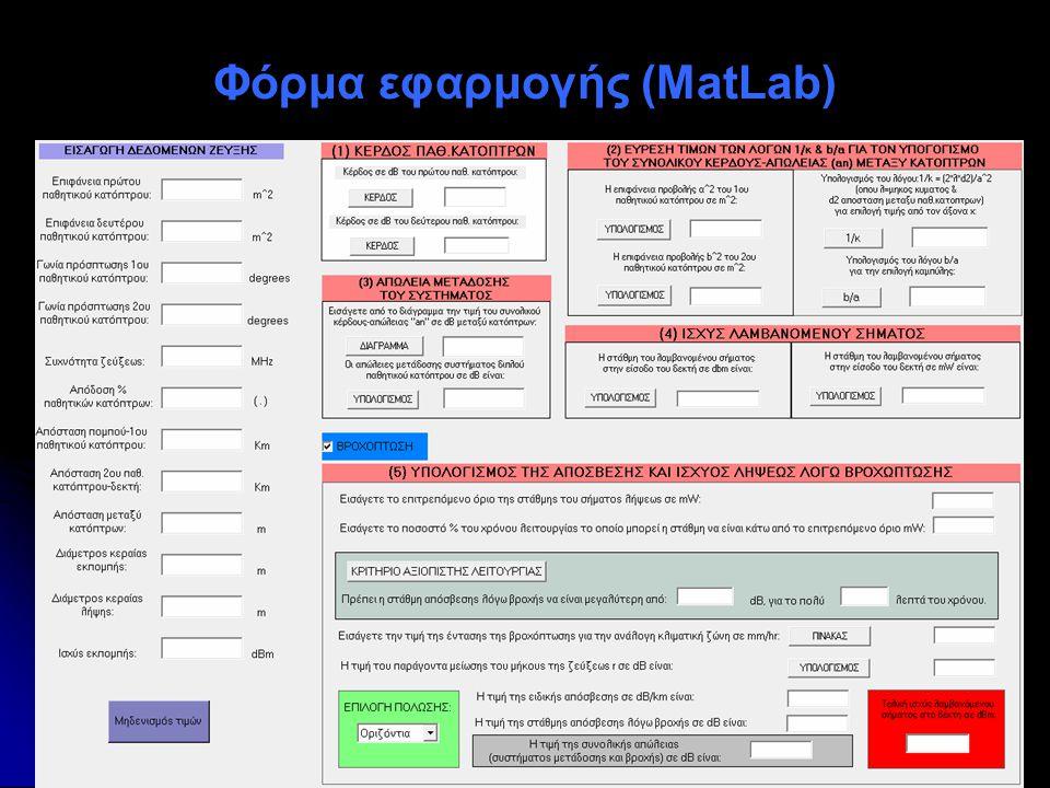 Φόρμα εφαρμογής (MatLab)