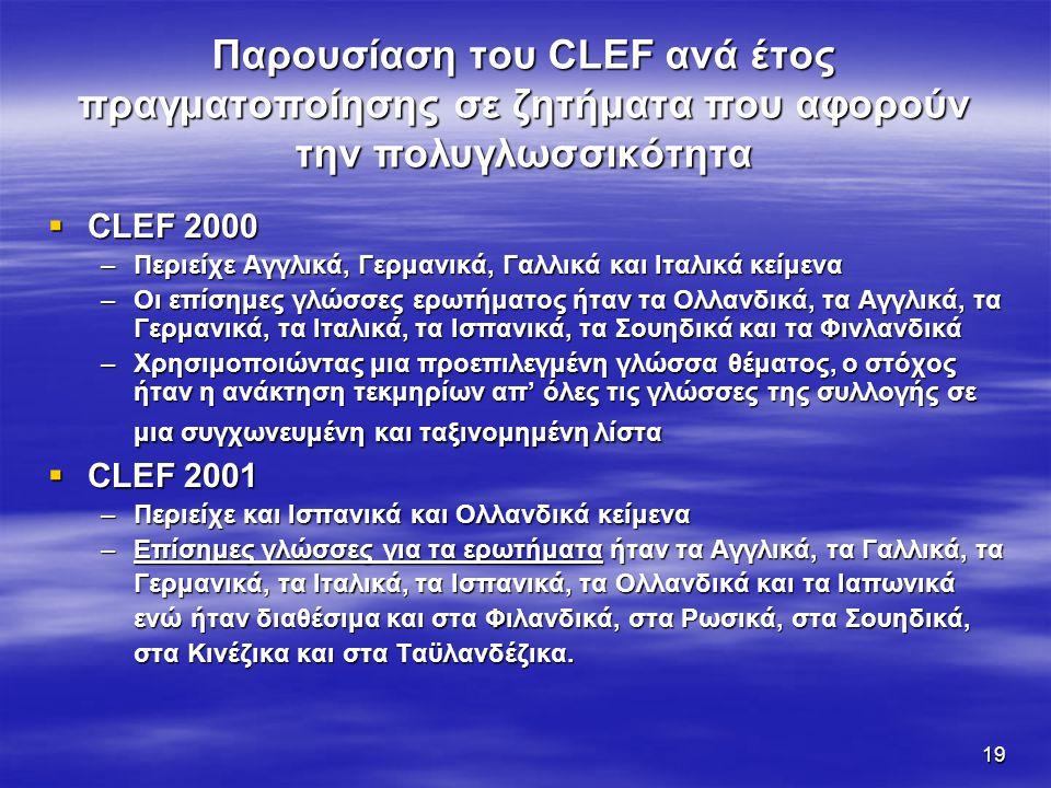 19 Παρουσίαση του CLEF ανά έτος πραγματοποίησης σε ζητήματα που αφορούν την πολυγλωσσικότητα  CLEF 2000 –Περιείχε Αγγλικά, Γερμανικά, Γαλλικά και Ιταλικά κείμενα –Οι επίσημες γλώσσες ερωτήματος ήταν τα Ολλανδικά, τα Αγγλικά, τα Γερμανικά, τα Ιταλικά, τα Ισπανικά, τα Σουηδικά και τα Φινλανδικά –Χρησιμοποιώντας μια προεπιλεγμένη γλώσσα θέματος, ο στόχος ήταν η ανάκτηση τεκμηρίων απ' όλες τις γλώσσες της συλλογής σε μια συγχωνευμένη και ταξινομημένη λίστα  CLEF 2001 –Περιείχε και Ισπανικά και Ολλανδικά κείμενα –Επίσημες γλώσσες για τα ερωτήματα ήταν τα Αγγλικά, τα Γαλλικά, τα Γερμανικά, τα Ιταλικά, τα Ισπανικά, τα Ολλανδικά και τα Ιαπωνικά ενώ ήταν διαθέσιμα και στα Φιλανδικά, στα Ρωσικά, στα Σουηδικά, στα Κινέζικα και στα Ταϋλανδέζικα.