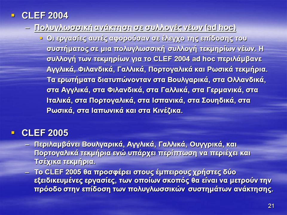 21  CLEF 2004 –Πολυγλωσσική ανάκτηση σε συλλογές νέων (ad hoc)  Οι εργασίες αυτές αφορούσαν σε έλεγχο της επίδοσης του συστήματος σε μια πολυγλωσσική συλλογή τεκμηρίων νέων.