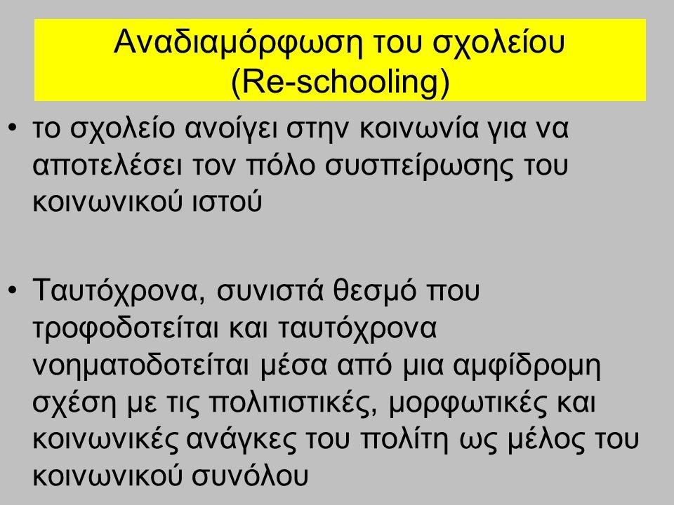 Αναδιαμόρφωση του σχολείου (Re-schooling) το σχολείο ανοίγει στην κοινωνία για να αποτελέσει τον πόλο συσπείρωσης του κοινωνικού ιστού Ταυτόχρονα, συνιστά θεσμό που τροφοδοτείται και ταυτόχρονα νοηματοδοτείται μέσα από μια αμφίδρομη σχέση με τις πολιτιστικές, μορφωτικές και κοινωνικές ανάγκες του πολίτη ως μέλος του κοινωνικού συνόλου