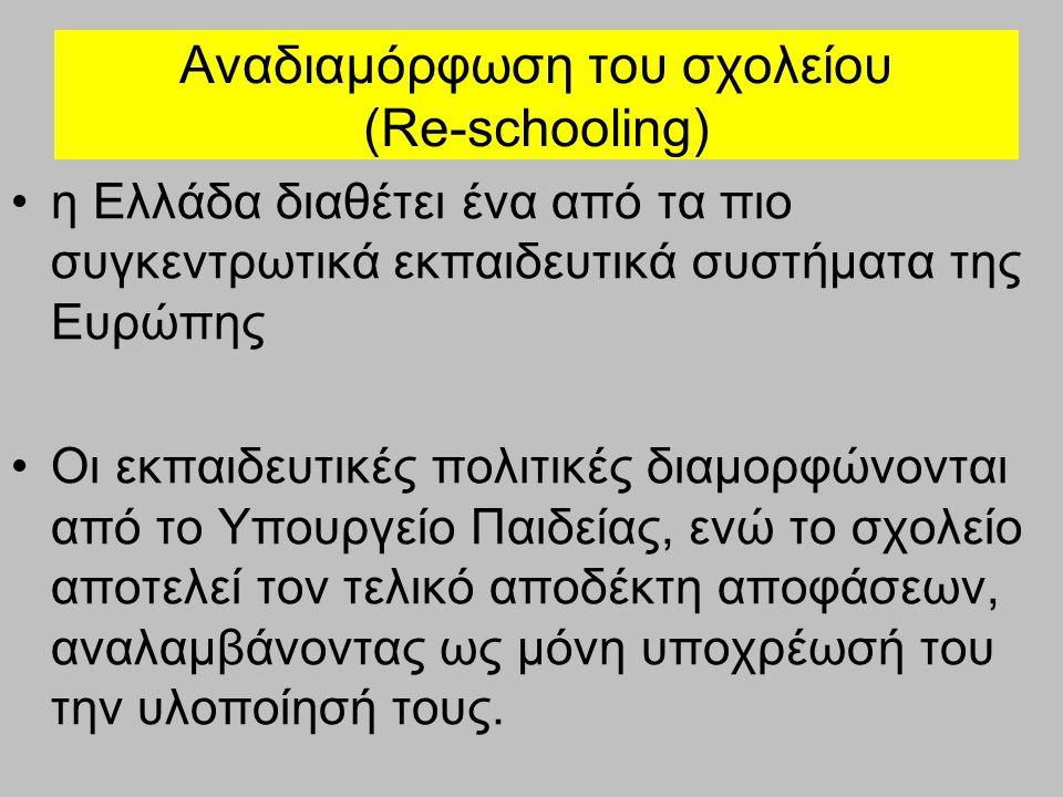 Αναδιαμόρφωση του σχολείου (Re-schooling) - Προβλήματα Έλλειψη δημοκρατικής διαβούλευσης Σχεδιασμός «εκ των άνω» Λειτουργικές αδυναμίες και δομικές αγκυλώσεις εκπαιδευτικών οργανισμών Εσωστρέφεια – στερεοτυπικές αντιλήψεις για τον τυποποιημένο ρόλο του σχολείου
