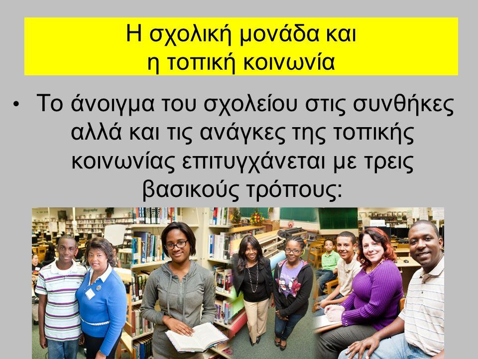 Η σχολική μονάδα και η τοπική κοινωνία Την προσαρμογή του περιεχομένου σπουδών του στα ιδιαίτερα χαρακτηριστικά της τοπικής κοινωνίας Τον προσανατολισμό σε εκπαιδευτικές δραστηριότητες πέραν του τυπικού προγράμματος σπουδών, οι οποίες φέρνουν τους μαθητές σε επαφή με τις τοπικές οικονομικές, κοινωνικές και πολιτιστικές συνθήκες