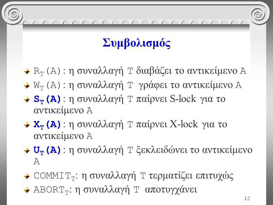 12 Συμβολισμός R Τ (A) : η συναλλαγή T διαβάζει το αντικείμενο Α W Τ (A) : η συναλλαγή T γράφει το αντικείμενο Α S Τ (A) : η συναλλαγή T παίρνει S-lock για το αντικείμενο Α Χ Τ (A) : η συναλλαγή T παίρνει Χ-lock για το αντικείμενο Α U Τ (A) : η συναλλαγή T ξεκλειδώνει το αντικείμενο Α COMMIT T : η συναλλαγή T τερματίζει επιτυχώς ABORT T : η συναλλαγή T αποτυγχάνει