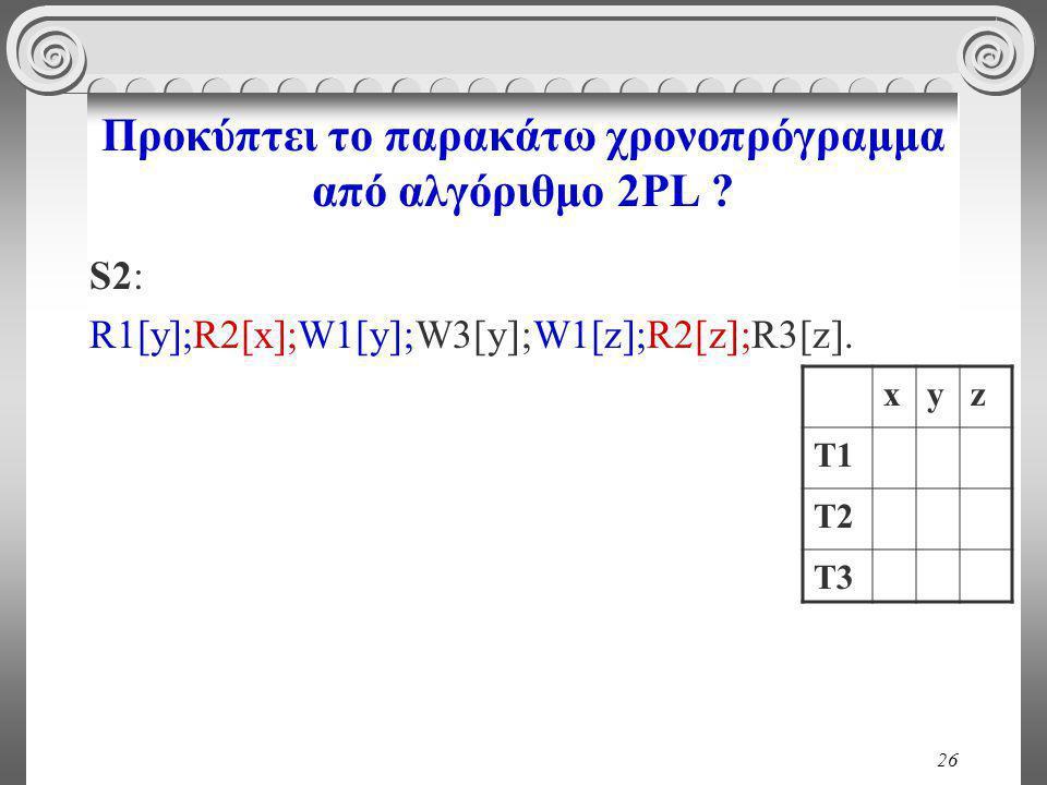 26 Προκύπτει το παρακάτω χρονοπρόγραμμα από αλγόριθμο 2PL .