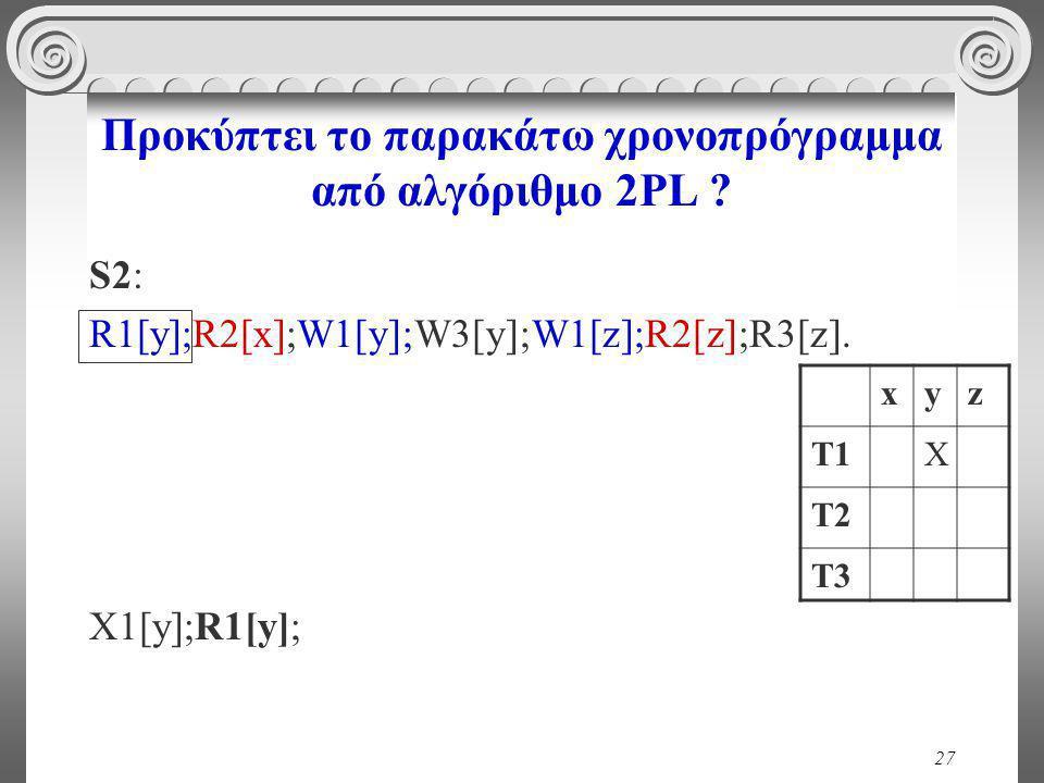 27 Προκύπτει το παρακάτω χρονοπρόγραμμα από αλγόριθμο 2PL .