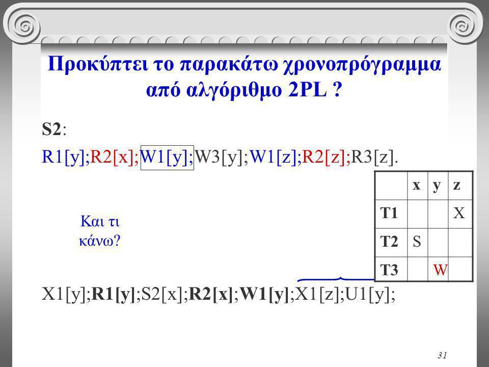 31 Προκύπτει το παρακάτω χρονοπρόγραμμα από αλγόριθμο 2PL .