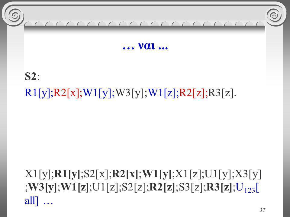 37 … ναι... S2: R1[y];R2[x];W1[y];W3[y];W1[z];R2[z];R3[z].