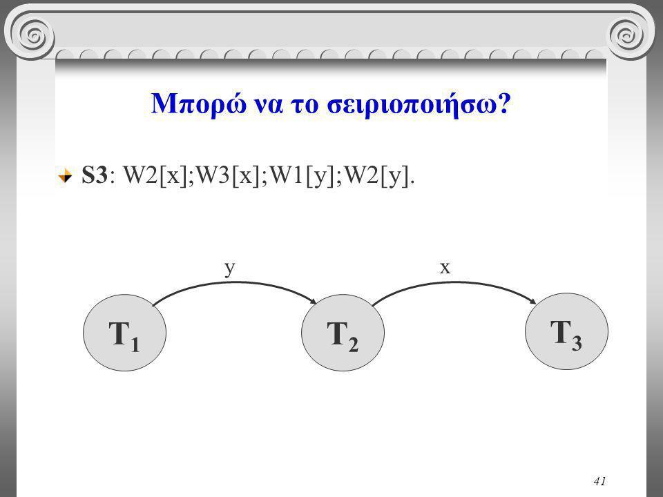 41 Μπορώ να το σειριοποιήσω S3: W2[x];W3[x];W1[y];W2[y]. T1T1 T2T2 x T3T3 y