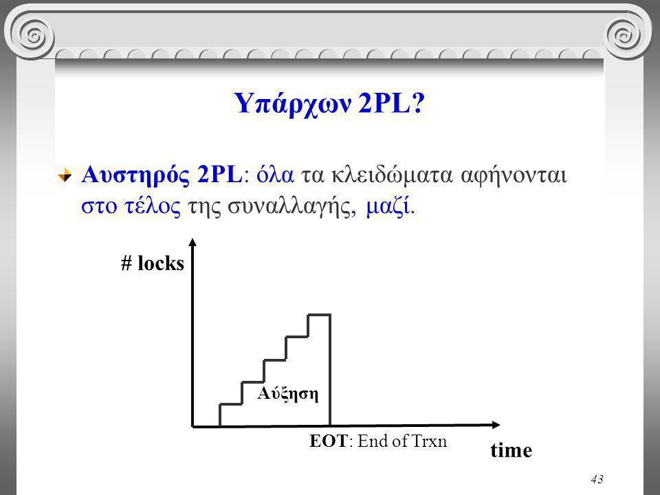 43 Υπάρχων 2PL. Αυστηρός 2PL: όλα τα κλειδώματα αφήνονται στο τέλος της συναλλαγής, μαζί.