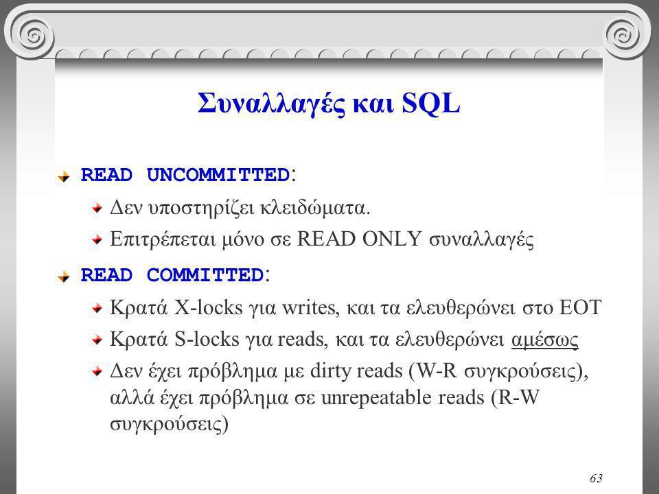 63 Συναλλαγές και SQL READ UNCOMMITTED : Δεν υποστηρίζει κλειδώματα.