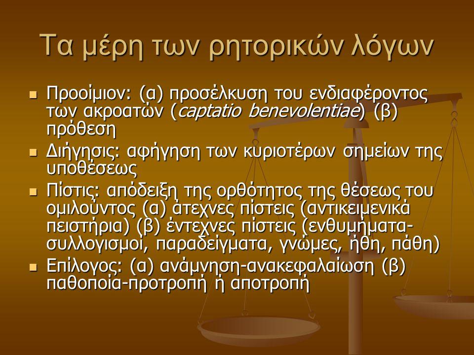 Τα μέρη των ρητορικών λόγων Προοίμιον: (α) προσέλκυση του ενδιαφέροντος των ακροατών (captatio benevolentiae) (β) πρόθεση Προοίμιον: (α) προσέλκυση του ενδιαφέροντος των ακροατών (captatio benevolentiae) (β) πρόθεση Διήγησις: αφήγηση των κυριοτέρων σημείων της υποθέσεως Διήγησις: αφήγηση των κυριοτέρων σημείων της υποθέσεως Πίστις: απόδειξη της ορθότητος της θέσεως του ομιλούντος (α) άτεχνες πίστεις (αντικειμενικά πειστήρια) (β) έντεχνες πίστεις (ενθυμήματα- συλλογισμοί, παραδείγματα, γνώμες, ήθη, πάθη) Πίστις: απόδειξη της ορθότητος της θέσεως του ομιλούντος (α) άτεχνες πίστεις (αντικειμενικά πειστήρια) (β) έντεχνες πίστεις (ενθυμήματα- συλλογισμοί, παραδείγματα, γνώμες, ήθη, πάθη) Επίλογος: (α) ανάμνηση-ανακεφαλαίωση (β) παθοποία-προτροπή ή αποτροπή Επίλογος: (α) ανάμνηση-ανακεφαλαίωση (β) παθοποία-προτροπή ή αποτροπή