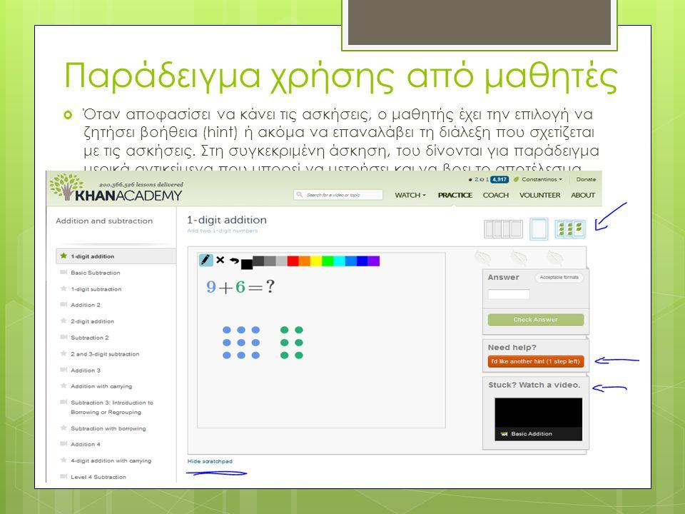 Παράδειγμα χρήσης από μαθητές  Καθώς ο μαθητής παρακολουθεί το βίντεο, μπορεί να κάνει μια ερώτηση στο ειδικό πλαίσιο που προσφέρεται στην κάτω πλευρ