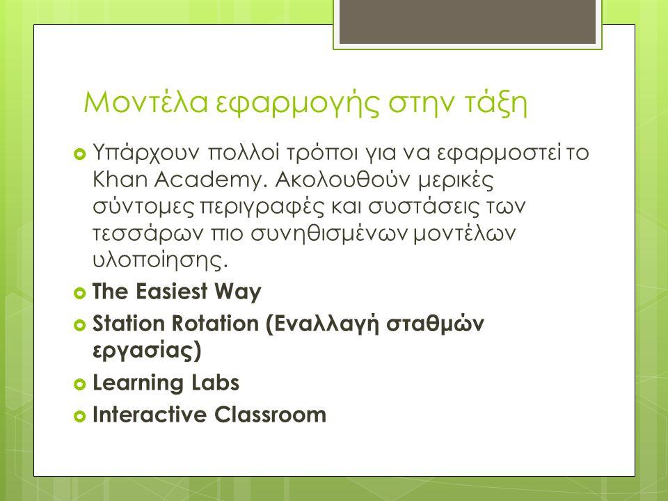 Πως μπορεί να εφαρμοστεί στην τάξη;  Πρακτική πάνω σε ζητήματα που διδάχτηκε ο μαθητής Οι ασκήσεις του Khan Academy επιτρέπουν σε ένα μαθητή να εξασκ