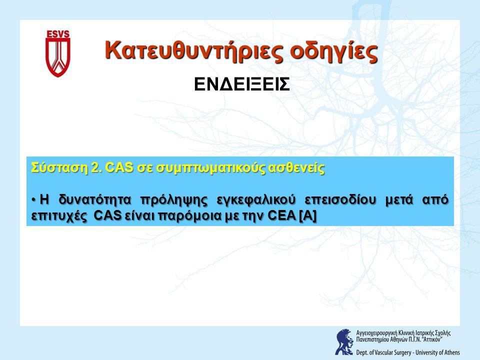 Σύσταση 2. CAS σε συμπτωματικούς ασθενείς Η δυνατότητα πρόληψης εγκεφαλικού επεισοδίου μετά από επιτυχές CAS είναι παρόμοια με την CEA [A] Η δυνατότητ