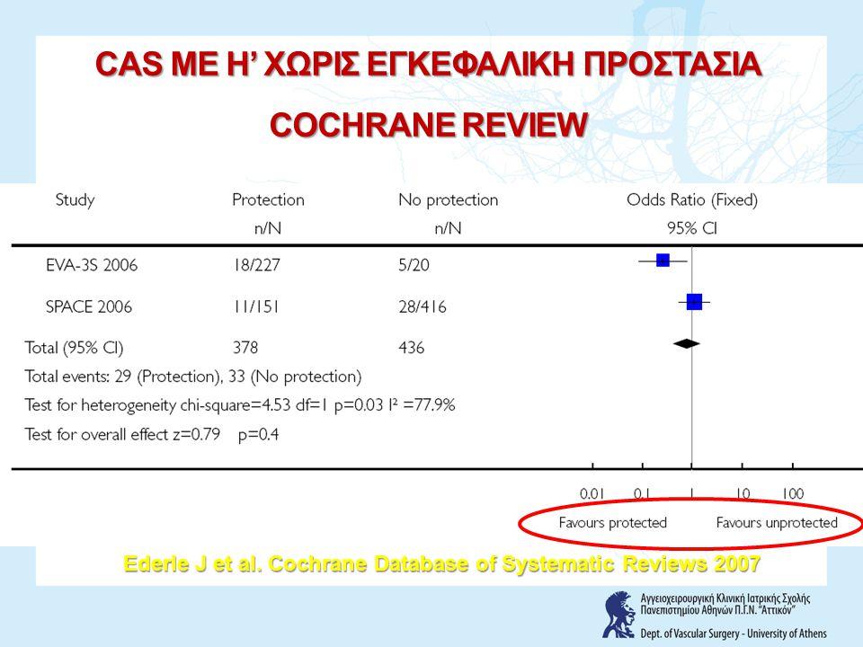 Ederle J et al. Cochrane Database of Systematic Reviews 2007 CAS ME H' ΧΩΡΙΣ ΕΓΚΕΦΑΛΙΚΗ ΠΡΟΣΤΑΣΙΑ COCHRANE REVIEW
