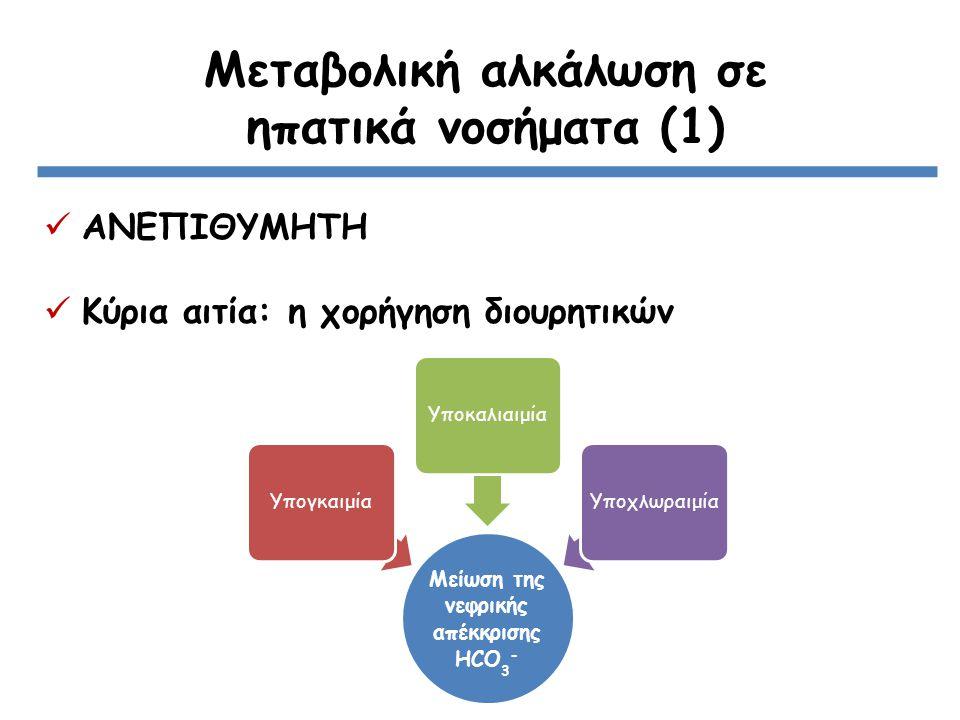 Μεταβολική αλκάλωση σε ηπατικά νοσήματα (1) ΑΝΕΠΙΘΥΜΗΤΗ Κύρια αιτία: η χορήγηση διουρητικών Μείωση της νεφρικής απέκκρισης ΗCO3 - ΥπογκαιμίαΥποκαλιαιμίαΥποχλωραιμία