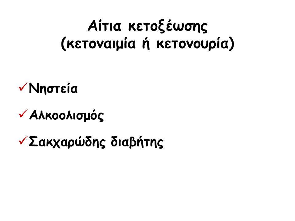 Αίτια κετοξέωσης (κετοναιμία ή κετονουρία) Νηστεία Αλκοολισμός Σακχαρώδης διαβήτης