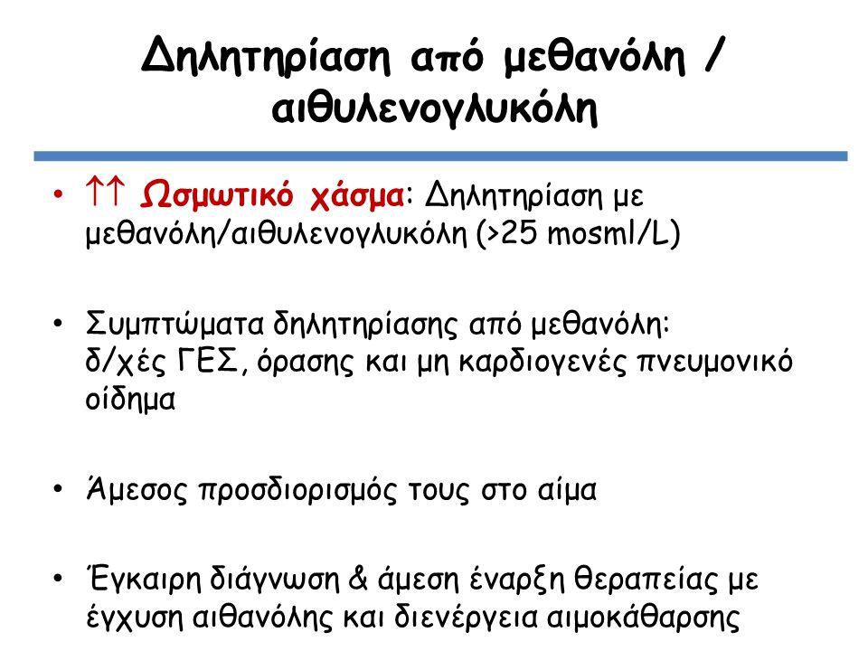  Ωσμωτικό χάσμα: Δηλητηρίαση με μεθανόλη/αιθυλενογλυκόλη (>25 mosml/L) Συμπτώματα δηλητηρίασης από μεθανόλη: δ/χές ΓΕΣ, όρασης και μη καρδιογενές πνευμονικό οίδημα Άμεσος προσδιορισμός τους στο αίμα Έγκαιρη διάγνωση & άμεση έναρξη θεραπείας με έγχυση αιθανόλης και διενέργεια αιμοκάθαρσης Δηλητηρίαση από μεθανόλη / αιθυλενογλυκόλη