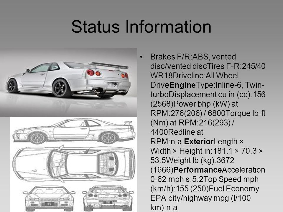 Status Information Brakes F/R:ABS, vented disc/vented discTires F-R:245/40 WR18Driveline:All Wheel DriveEngineType:Inline-6, Twin- turboDisplacement cu in (cc):156 (2568)Power bhp (kW) at RPM:276(206) / 6800Torque lb-ft (Nm) at RPM:216(293) / 4400Redline at RPM:n.a.ExteriorLength × Width × Height in:181.1 × 70.3 × 53.5Weight lb (kg):3672 (1666)PerformanceAcceleration 0-62 mph s:5.2Top Speed mph (km/h):155 (250)Fuel Economy EPA city/highway mpg (l/100 km):n.a.