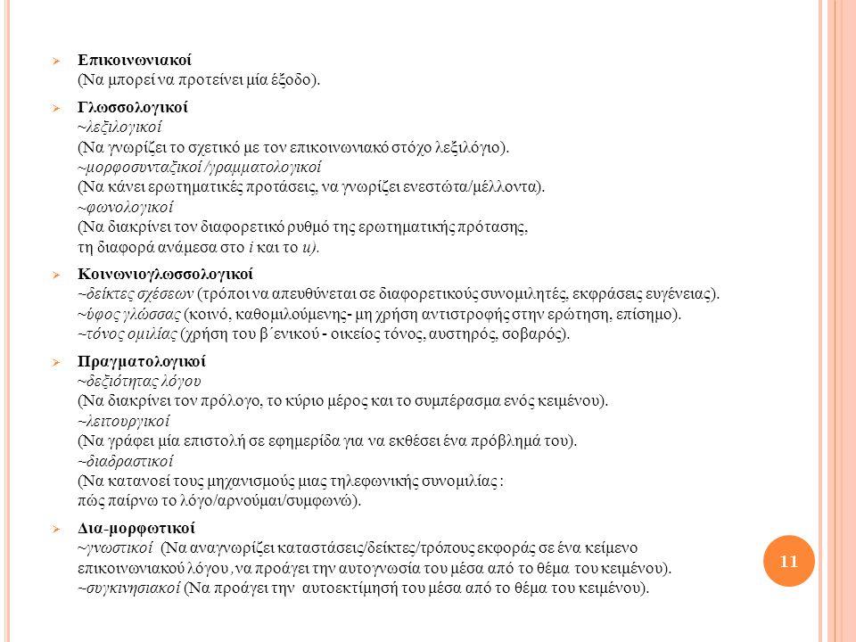  Επικοινωνιακοί (Να μπορεί να προτείνει μία έξοδο).  Γλωσσολογικοί ~λεξιλογικοί (Να γνωρίζει το σχετικό με τον επικοινωνιακό στόχο λεξιλόγιο). ~μορφ