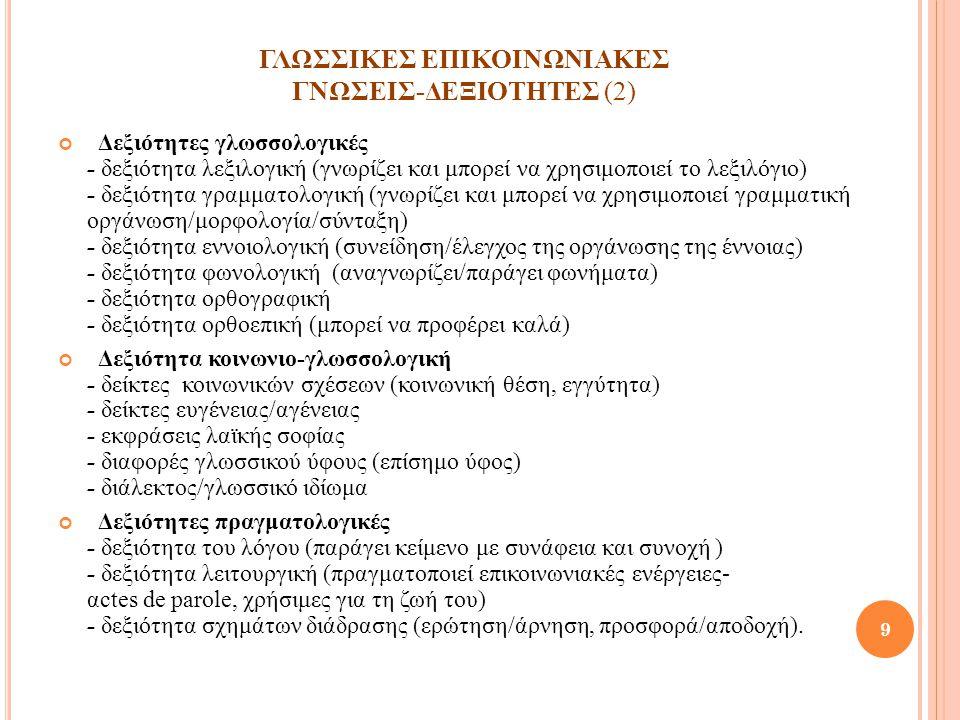 ΓΛΩΣΣΙΚΕΣ ΕΠΙΚΟΙΝΩΝΙΑΚΕΣ ΓΝΩΣΕΙΣ-ΔΕΞΙΟΤΗΤΕΣ (2) Δεξιότητες γλωσσολογικές - δεξιότητα λεξιλογική (γνωρίζει και μπορεί να χρησιμοποιεί το λεξιλόγιο) - δ