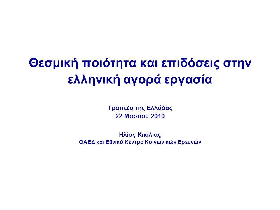 Θεσμική ποιότητα και επιδόσεις στην ελληνική αγορά εργασία Τράπεζα της Ελλάδας 22 Μαρτίου 2010 Ηλίας Κικίλιας ΟΑΕΔ και Εθνικό Κέντρο Κοινωνικών Ερευνών