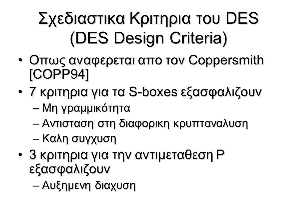 Triple DES (3DES) Παραλλαγή του DES, η οποία παρέχει περισσότερη ασφάλεια Ο 3DES χρησιμοποιεί τρία κλειδιά των 56-bit –C=E k3 (D k2 (E k1 (P))) –P=D k1 (E k2 (D k3 (C))) Σημείωση: αν K1=K2, τότε 3DES=DES