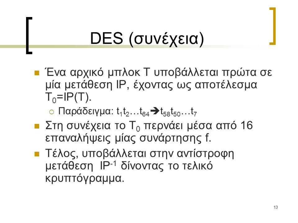 13 DES (συνέχεια) Ένα αρχικό μπλοκ T υποβάλλεται πρώτα σε μία μετάθεση IP, έχοντας ως αποτέλεσμα T 0 =IP(T).