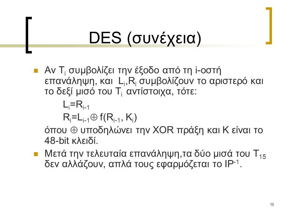 16 DES (συνέχεια) Αν T i συμβολίζει την έξοδο από τη i-οστή επανάληψη, και L i,R i συμβολίζουν το αριστερό και το δεξί μισό του T i αντίστοιχα, τότε: