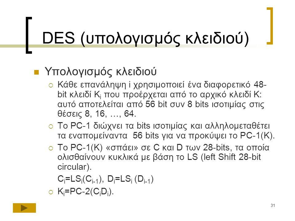 31 DES (υπολογισμός κλειδιού) Υπολογισμός κλειδιού  Κάθε επανάληψη i χρησιμοποιεί ένα διαφορετικό 48- bit κλειδί K i που προέρχεται από το αρχικό κλειδί K: αυτό αποτελείται από 56 bit συν 8 bits ισοτιμίας στις θέσεις 8, 16, …, 64.